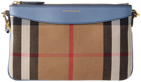 Burberry House Check & Leather Clutch Bag - BLUE - STYLE