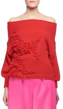 DELPOZO Floral Off-the-Shoulder Sweater, Red