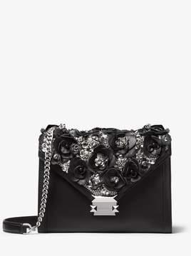 MICHAEL Michael Kors Whitney Large Floral Embellished Leather Convertible Shoulder Bag