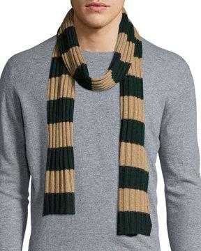Portolano Striped Ribbed-Knit Scarf, Forest/Asinello