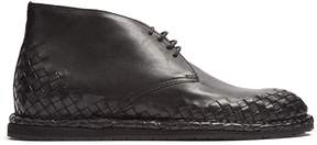 Bottega Veneta Intrecciato-trimmed leather desert boot