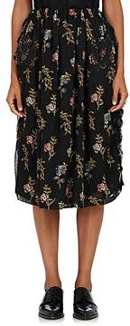Comme des Garcons Women's Floral Mixed-Media Midi-Skirt