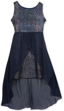 Rare Editions Metallic High-Low Hem Dress, Big Girls (7-16)