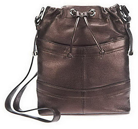 As Is B. Makowsky Pebble Embossed Leather Crossbody Bag