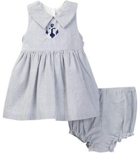 Laura Ashley Striped Embroidered Dress (Baby Girls 0-9M)