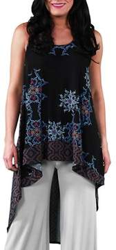 24/7 Comfort Apparel Women's Abstract Dual-Print Racerback Tunic