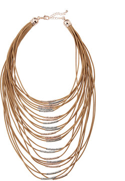 Fragments for Neiman Marcus Multi-Strand Cord Statement Necklace, Brown