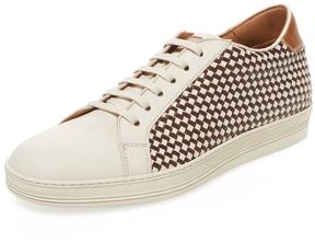 Antonio Maurizi Men's Leather Woven Low Top Sneaker