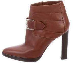Hermes Leather Round-Toe Ankle Boots