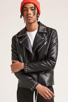 21men 21 MEN Studded Faux Leather Jacket