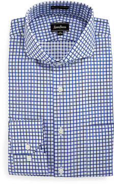 Neiman Marcus Classic Fit Dobby Check Dress Shirt, Blue