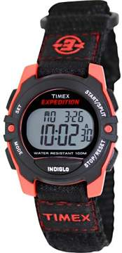 Timex Unisex Expedition Mid-Size Digital CAT Black/Red Watch, Fast Wrap Strap