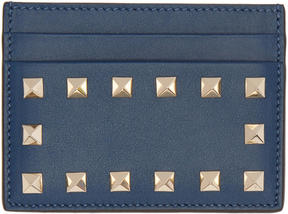 Valentino Blue Garavani Rockstud Card Holder