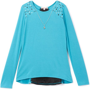 Celebrity Pink Teal & Black Lace-Trim Tunic & Necklace - Girls
