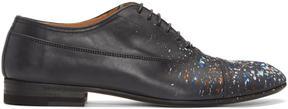 Maison Margiela Black Leather Paint Splatter Oxfords
