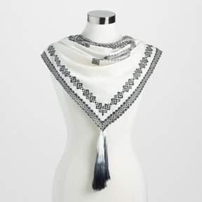 World Market Square Black and White Diamond Jacquard Scarf