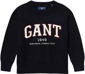 Gant Navy Logo Knit Jumper