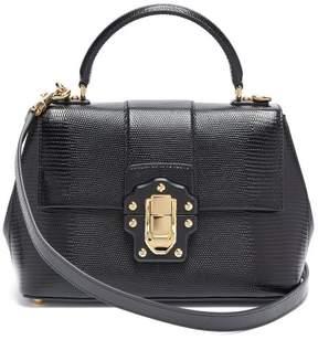 Dolce & Gabbana Lucia Lizard Effect Leather Bag - Womens - Black