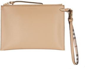 Burberry Grained Leather Pouch - BEIGE - STYLE