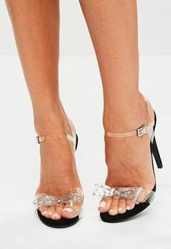 Missguided Black Clear Bow Strappy Sandals