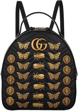 Gucci Marmont Gold Bug Backpack - BLACK - STYLE