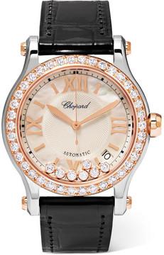 Chopard Happy Sport 36 Alligator, 18-karat Rose Gold, Stainless Steel And Diamond Watch