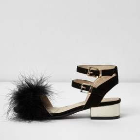 River Island Girls black feather front block heel sandals