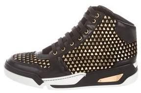 Versace Embellished Suede Sneakers