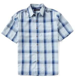 Roundtree & Yorke Big & Tall Short-Sleeve Plaid Polynosic Camp Shirt