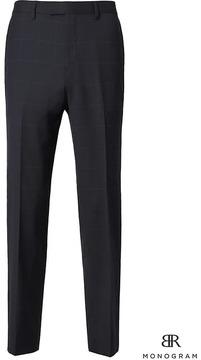 Banana Republic Slim Monogram Navy Windowpane Wool Suit Trouser