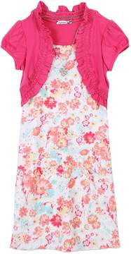 Speechless Girls 7-16 & Plus Size Mock-Layered Cardigan Floral Dress with Necklace