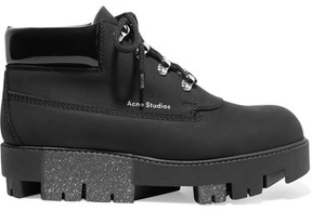 Acne Studios Tinnie Alu Patent-trimmed Brushed-leather Ankle Boots - Black