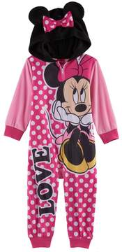 Disney Disney's Minnie Mouse Toddler Girl Hooded Footless Pajamas