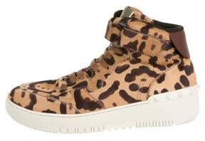 Valentino Ponyhair Leopard High-Top Sneakers w/ Tags
