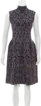 Alaia Leopard-Patterned Fit and Flare Dress