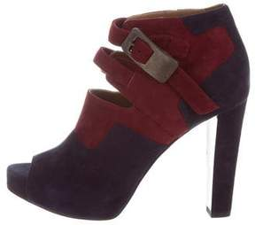 Hermes Suede Peep-Toe Ankle Boots