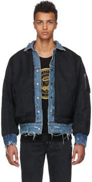 Amiri Reversible Black and Indigo Trucker Bomber Jacket