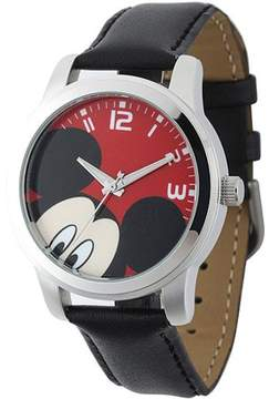 Disney Mickey Mouse Men's Casual Alloy Case Watch, Black Leather Strap