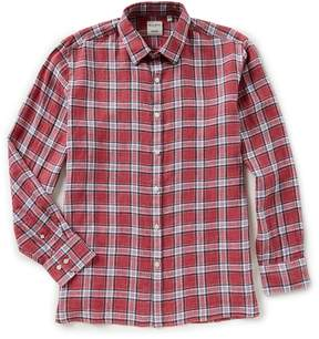 Murano Baird McNutt Linen Long-Sleeve Plaid Shirt