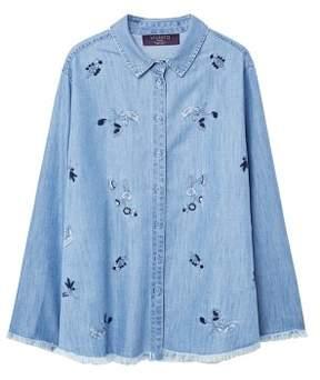 Violeta BY MANGO Embroidered denim shirt