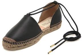 Gaimo Plain Leather Espadrille Black