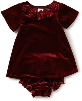 Starting Out Baby Girls 3-24 Months Velvet Rosette-Trim Dress