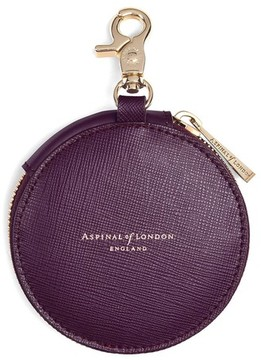 Aspinal of London Round Coin Purse With Keyring In Grape Saffiano Cappuccino Suede