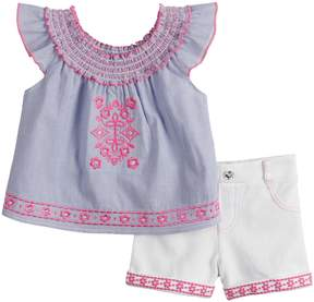 Little Lass Toddler Girl Embroidered Peasant Top & Shorts Set