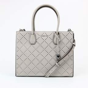 Michael Kors Mercer Stud Grommet Pearl Grey Leather Satchel - AS SHOWN - STYLE