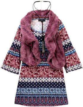 My Michelle mymichelle Printed Dress, Faux Fur Vest & Necklace Set (Big Girls)