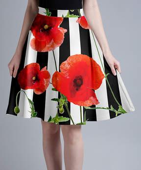 Lily Black & Red Poppies Stripe A-Line Skirt - Women & Plus