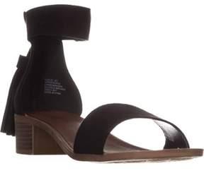 Rock & Candy Nancie Ankle Strap Fringe Zipper Sandals, Black.