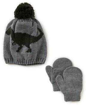Starting Out Baby Boys Dinosaur Beanie Hat & Mittens Set