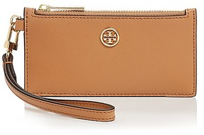 Tory Burch Parker Zip Leather Card Case - BLACK/GOLD - STYLE